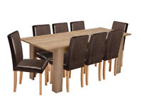 EX DISPLAY Miami XL Extendable Dining Table & 8 Chairs - Chocolate