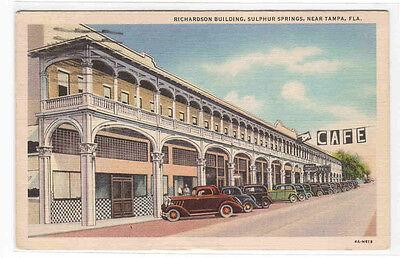 Richardson Building (Richardson Building Cafe Cars Sulphur Springs Tampa Florida 1944 postcard)