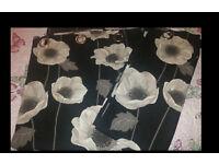 Pair Of Black & Grey Flower Curtains