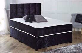 BRAND DOUBLE OR KING SIZE CRUSH VELVET DIVAN BED WITH 2 STORAGE DRAWERS & HEADBOARD