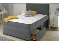 New Grey 4ft6 Double Divan Bed with mattress
