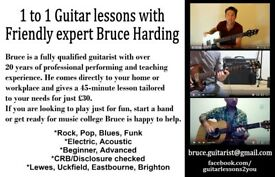 1 to 1 Guitar lessons in Sussex (I come to you)