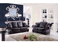 BIGGEST SALE - BRAND NEW ITALIAN CHESTERFIELD WINGBACK DIANA 3+2 BLACK LEATHER SOFA + DELIVERY