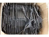 Approx 800 plastic coat hangers in 2 boxes. black 79mm made by mainetti with rubber shoulder