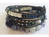 "Hand made triple wrap bracelet, iridescent black HQ glass beads on black leather, fit 7"" wrist"
