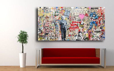Graffiti art Einstein Mural  42 x 24 Canvas Print Giclee Mr. Brainwash/Banksy