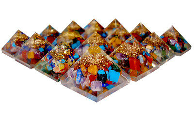 Multi Orgonite Pyramids For Energy 7 Chakra Stones Filled Aura Energy Points