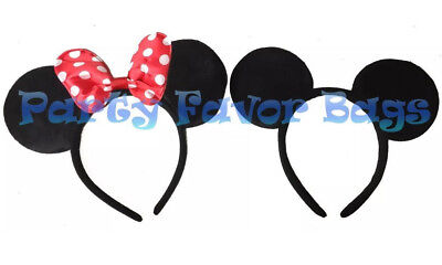 Minnie And Mickey Mouse Ears Headbands Adult Kid Halloween Costume Black Red](Mickey And Minnie Halloween Costumes)