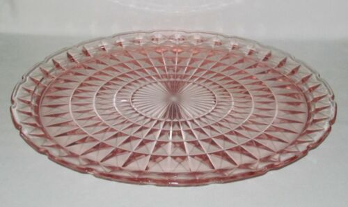 Jeannette Glass Co. WINDSOR DIAMOND Pink Extra Large Round Chop Plate