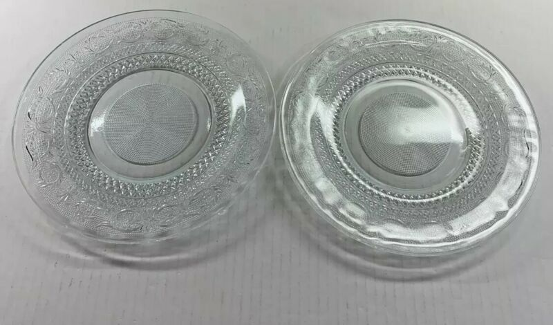 "2 VINTAGE KIG Malaysia Pressed Glass Clear Plate 10"" Diamond Dot Fleur de Lis"