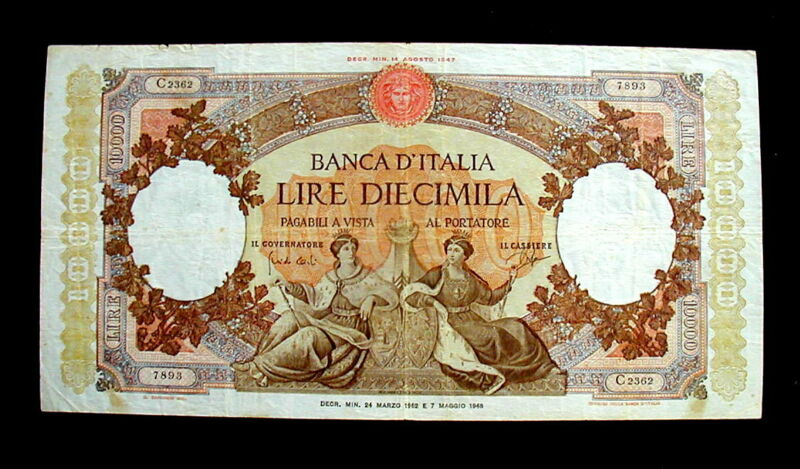 1962 ITALY rare Banknote Repubbliche Marinare 10000 Lire  VF BB high quality