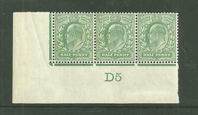1902   DLR 1/2d  control strip of 3  D5.  Stamps are unmounted mint.