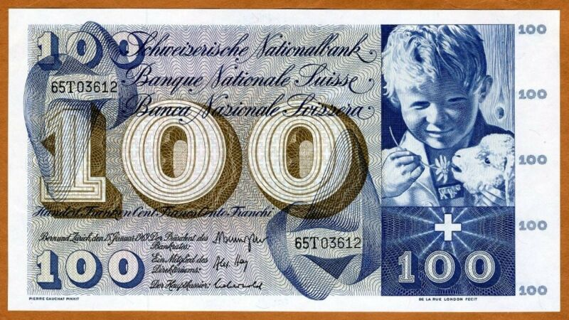 Switzerland, 100 Francs, 1969, P-49 (49k),  UNC