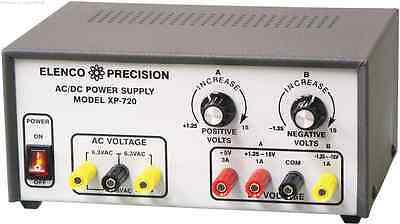 Elenco Xp-720 Triple Acdc Power Supply W 12.6vac Ct 1a Assembled