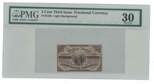 U.S. - 1863 3 Cent Fractional Currency Banknote (Third Issue - PMG VF 30)