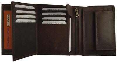 Men's European Cowhide Brown Leather Trifold Wallet 3 ID,8 Slots, Change Pocket