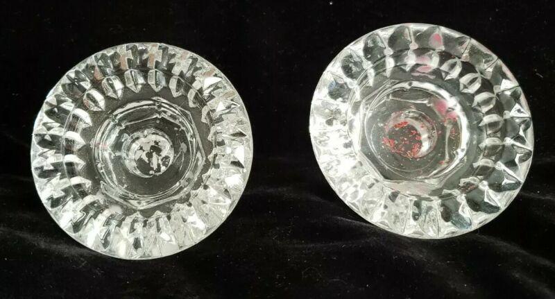 Vintage KIG Set of 2  Bougeoire Tabletop Crystal Glass Candle Universal Holders