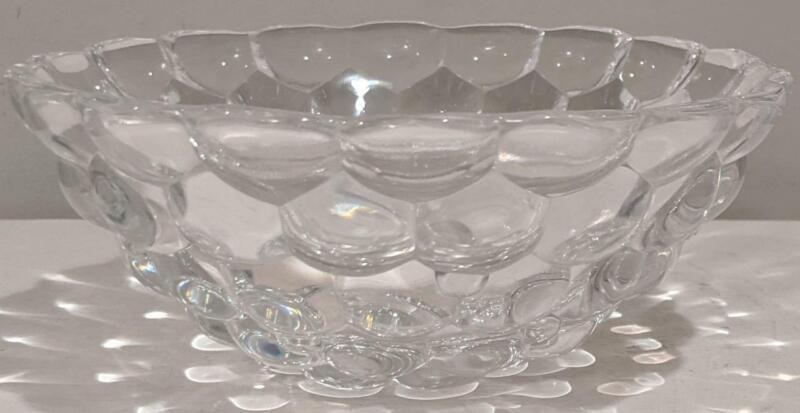 "ORREFORS Crystal Raspberry Bowl, Dish, Large 7.5"" Diameter"