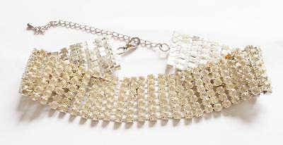 VINTAGE 80's SILVER TONE CLEAR CRYSTAL CHUNKY WIDE STATEMENT CHOKER NECKLACE