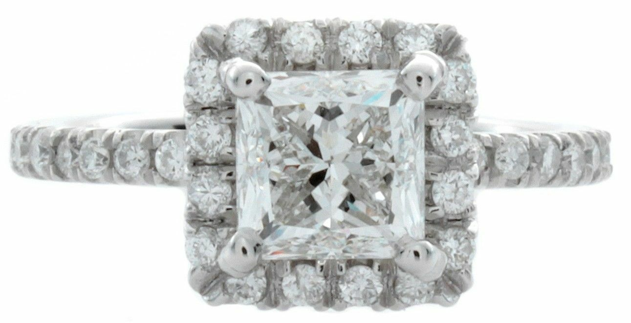 GIA Certified Diamond Engagement Ring 1.37 CTW Princess Cut 14k White Gold 2
