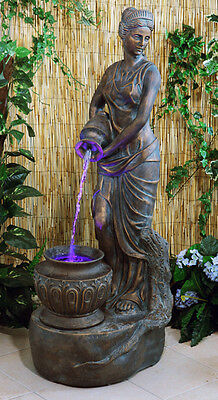 Lady Liberty Female Statue Water Fountain Feature Classical Bronze Effect Garden