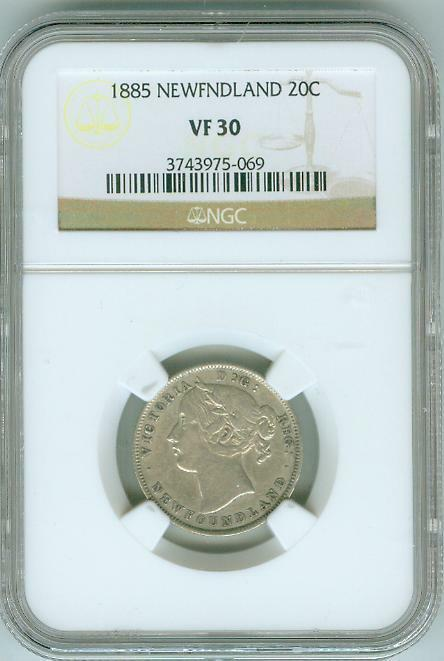 Scarce 1885 Newfoundland 20 cent NGC VF30--Only 40,000 Mintage!
