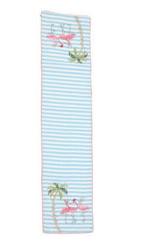Coastal Christmas Embellished with Beads Flamingos Blue Stripe Table Runner