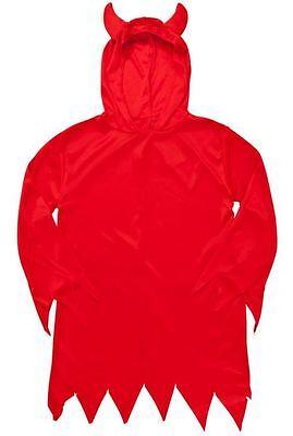 RED DEVIL COSTUME Boys Girls Unisex FANCY DRESS UP COSTUME Trident Horns Cape