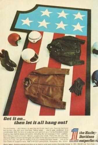 1971 Harley-Davidson Vintage X-100 Helmet, Apparel Vintage Motorcycle Ad