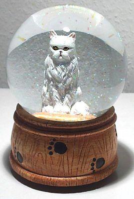 NEU Spieluhr Schneekugel Glitzerkugel mit Katze Melodie: What a wonderful World