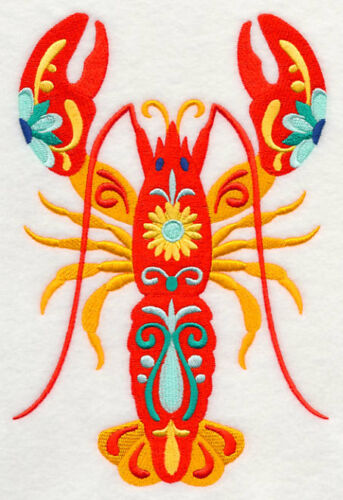 Large Embroidered Zippered Tote - Flower Power Lobster M5092