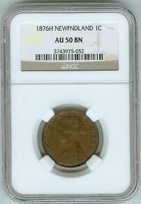 Click now to see the BUY IT NOW Price! NGC AU50 BN 1876 H NEWFOUNDLAND LARGE CENT