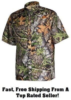 Mossy Oak Short Sleeve Button Down Hunting Shirt Men/'s Sz XL TG Beige w Camo NWT