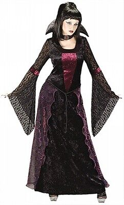 Damen Schwarz Rot Lang Gothischer Vampir Halloween Kostüm Kleid Outfit 10-12 (Langen Schwarzen Vampir-kleid)