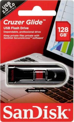 SanDisk Cruzer Glide 128GB Flash Drive USB 2.0 Thumb Memory