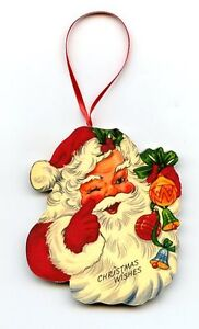SANTA with Bells Christmas Ornament Decoration vintage postcard image