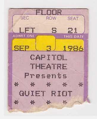 Quiet Riot - 9-3-86 - Capitol Theatre -  Passaic, NJ concert ticket stub - 1986
