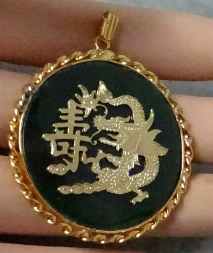 Large Vintage Asian Chinese Green Jade Pendant for Necklace