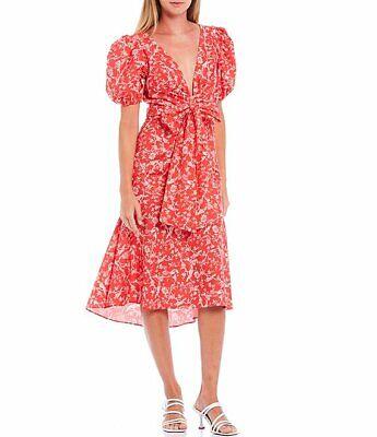Sachin & Babi Courtney Floral Puff Sleeve V-Neck Bow Front Midi Dress 0 NWT $295