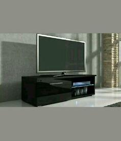 Black Gloss TV Unit LED Lights Television Cabinet Remote Control 1 Door 120 cm