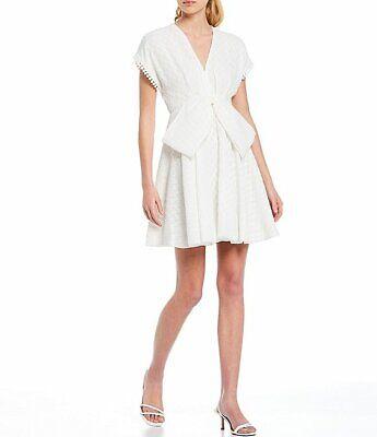Sachin & Babi Bolton Deep V Bow Detail Short Sleeve Mini Dress Ivory 8 NWT $295