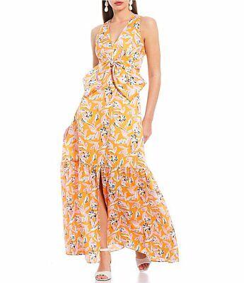Sachin & Babi Allie Floral Satin Bow Front V-Neck Sleeveless Dress 10 NWT $295
