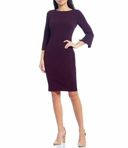 Calvin Klein NWT AUBERGINE 3/4 Split Sleeve Scuba Sheath Dress 2,4,6,8,10,12,14