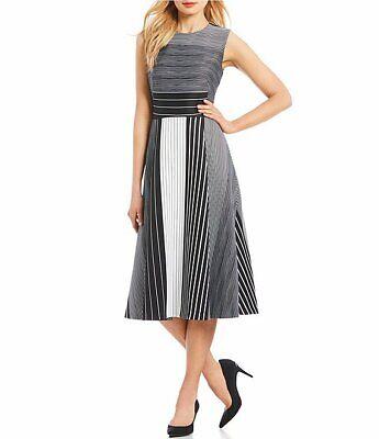 Calvin Klein Women's Sleeveless A Line Midi Dress Round Neckline Black White 20W