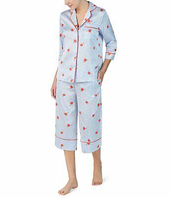 NWT Kate Spade Blue/Coral Pink ROSE FLORAL Smooth Satin CAPRI Pajama Set XL
