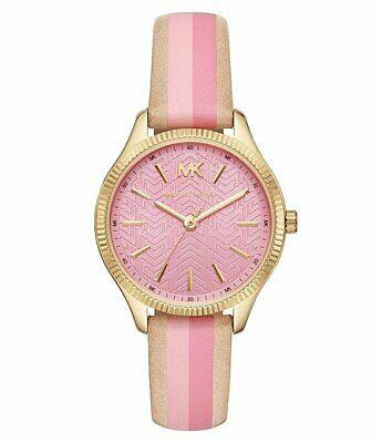 Michael Kors Women's Lexington Three-Hand Striped Leather Watch MK2809 Lady