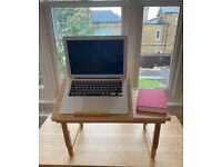 Adjustable laptop stand, standing desk converter with phone stand, bamboo, RRP £30