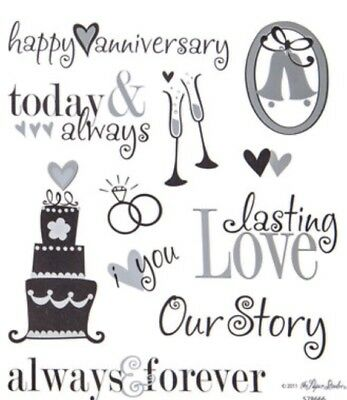 Silver Foiled Wedding Anniversary Phrase Scrapbook Stickers (Anniversary Stickers)