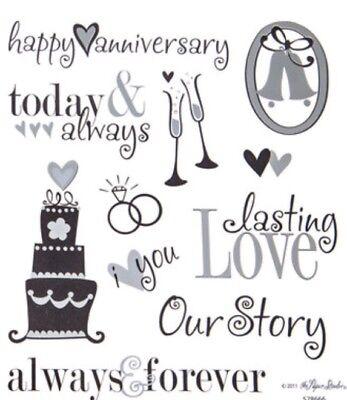 Silver Foiled Wedding Anniversary Phrase Scrapbook Stickers
