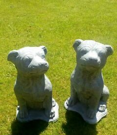 A Pair Of Large Staff Dog Statues